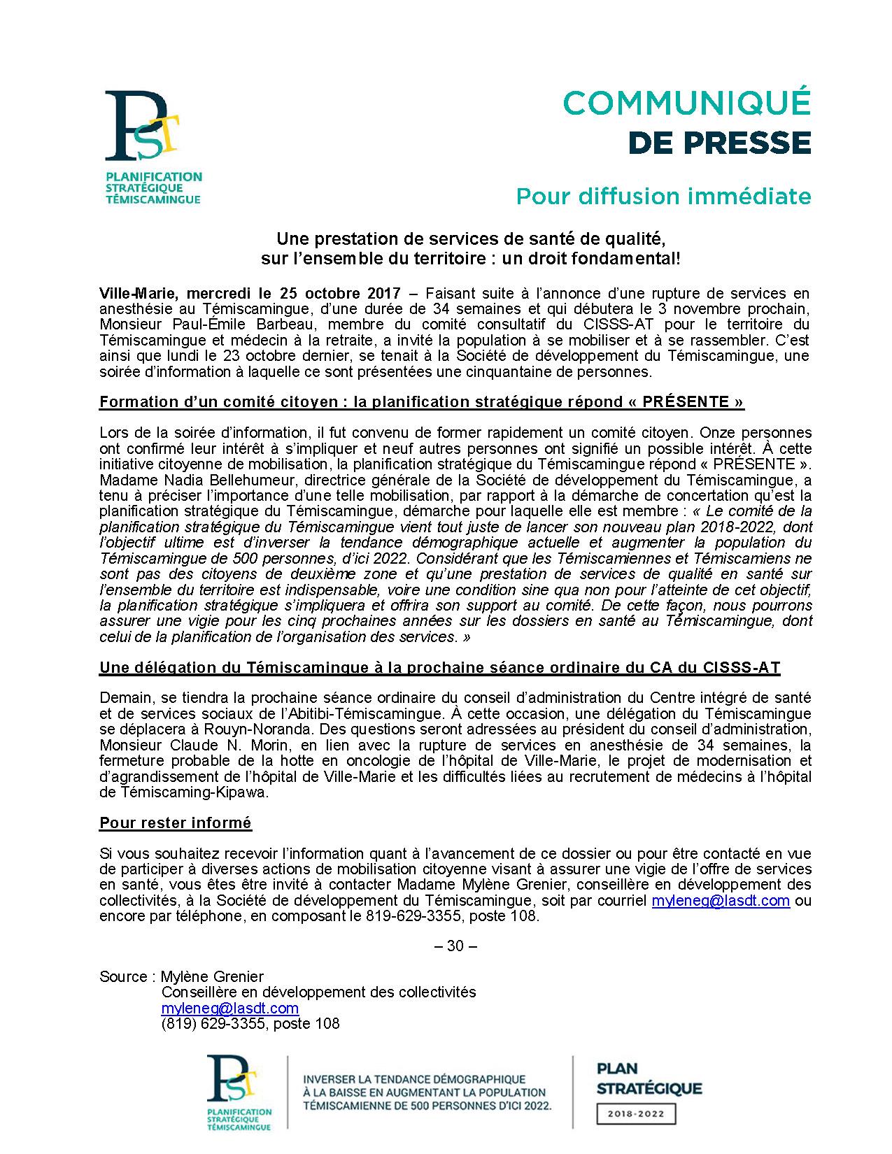 2017-10-25 - Communiqué PST - Mobilisation Santé